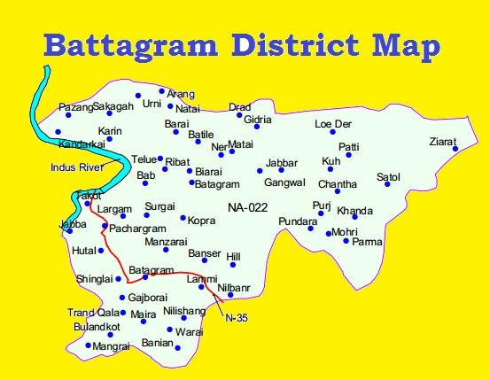 Battagram District Map Detail