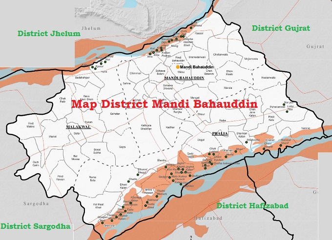 Mandi Bahauddin District Map with Tehsils