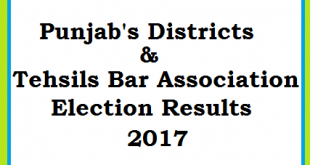 Punjab Districts and Tehsils Bar Association Election Results 2017