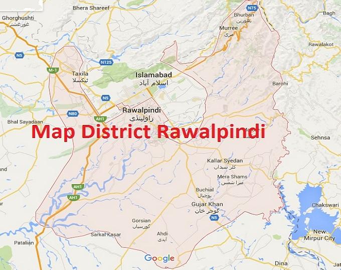 Rawalpindi District Map With Tehsils