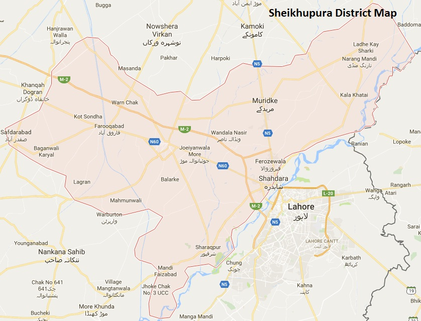 Sheikhupura District Map with tehsils