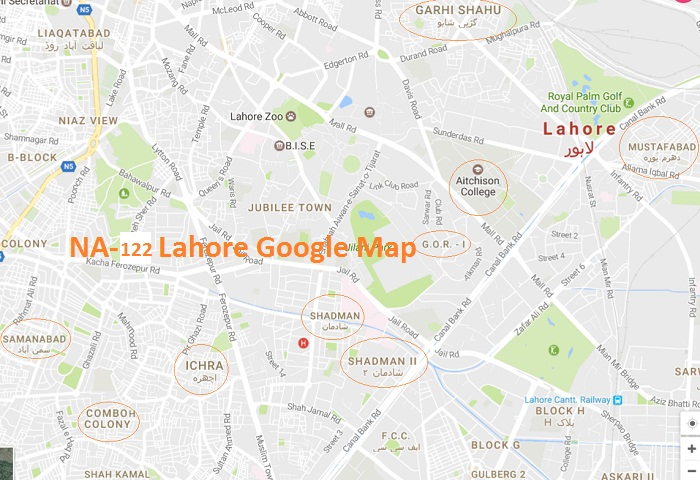NA 122 Lahore Areas List Map این اے 122 لاہور