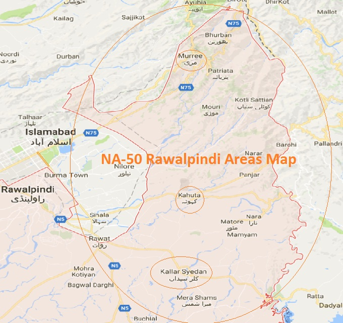 NA 50 Rawalpindi Areas Names Map این اے 50 راولپنڈی