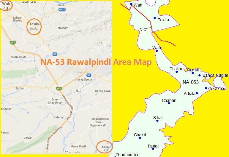 NA 53 Rawalpindi Area Names Map این اے 53 راولپنڈی