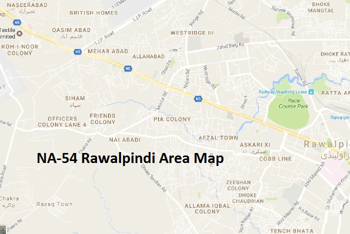 NA 54 Rawalpindi Area Names Map این اے54 راولپنڈی