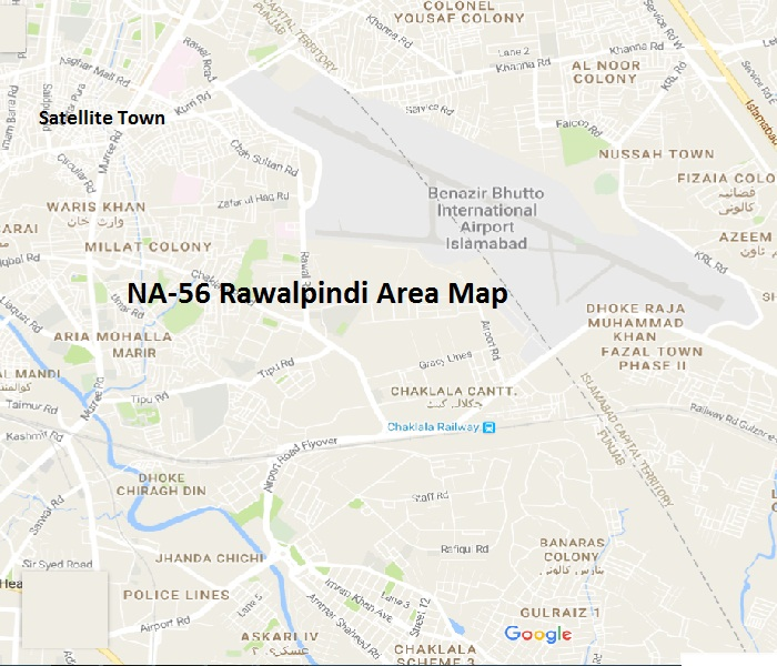 NA 56 Rawalpindi Area Names Map این اے 56 راولپنڈی