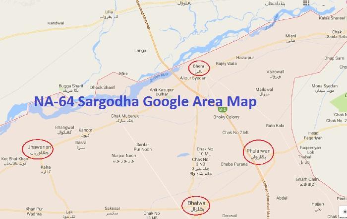 NA-64 Sargodha (Bhalwal, Bhera, Jhawarian, Phularwan) Google Area Map
