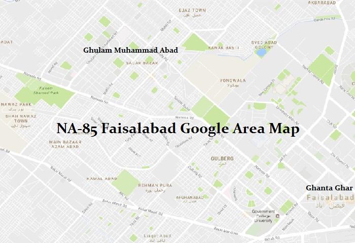 NA-85 Faisalabad Google Area Map