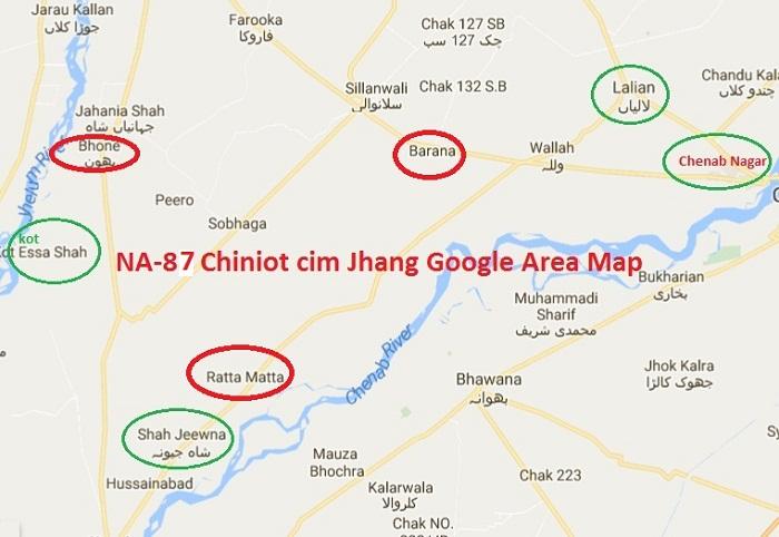 NA-87 Chiniot cum Jhang Google Area Map