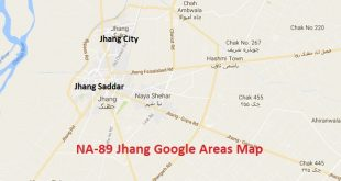 NA-89 Jhang Google Areas Map (City, Saddar, Bagh)