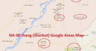 NA-90 Jhang Google Areas Map (Shorkot City, Cantt, Qaim Bharwana, Dab Kalan, Malhoana)