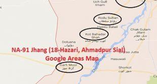 NA-91 Jhang Google Areas Map (18-Hazari, Ahmadpur Sial, Garh Maharaja, Rodu Sultan)