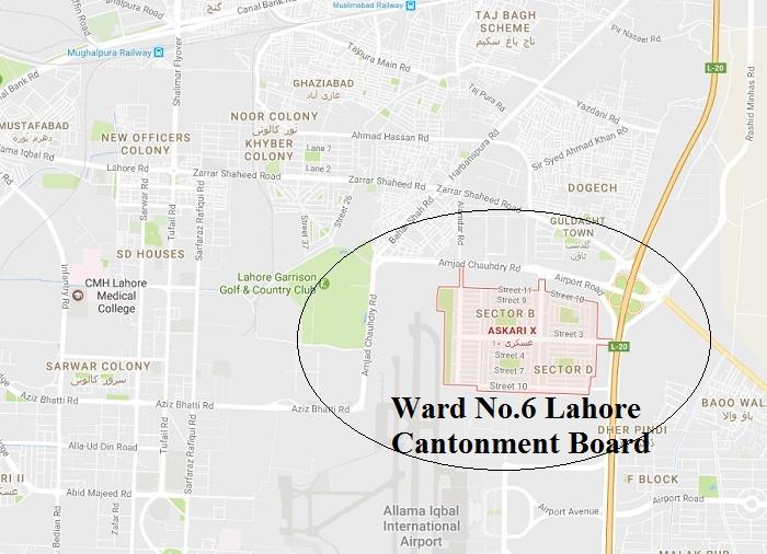Askari 10 Lahore Cantt. Ward No 6 Lahore Cantonment Board - Location Map