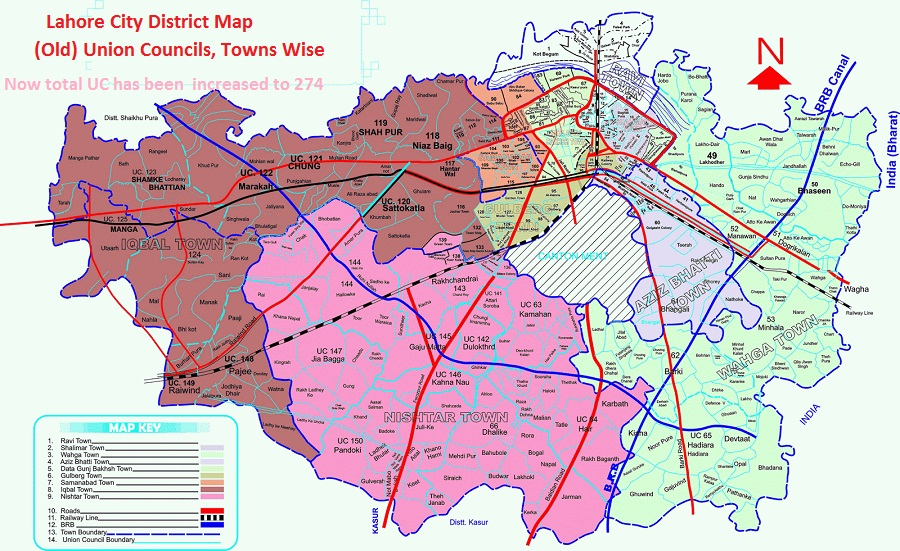 Lahore City District Map - Old Town Wise UCs