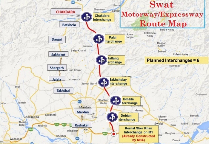 Swat Expressway-Motorway Route Map with Interchanges Detail