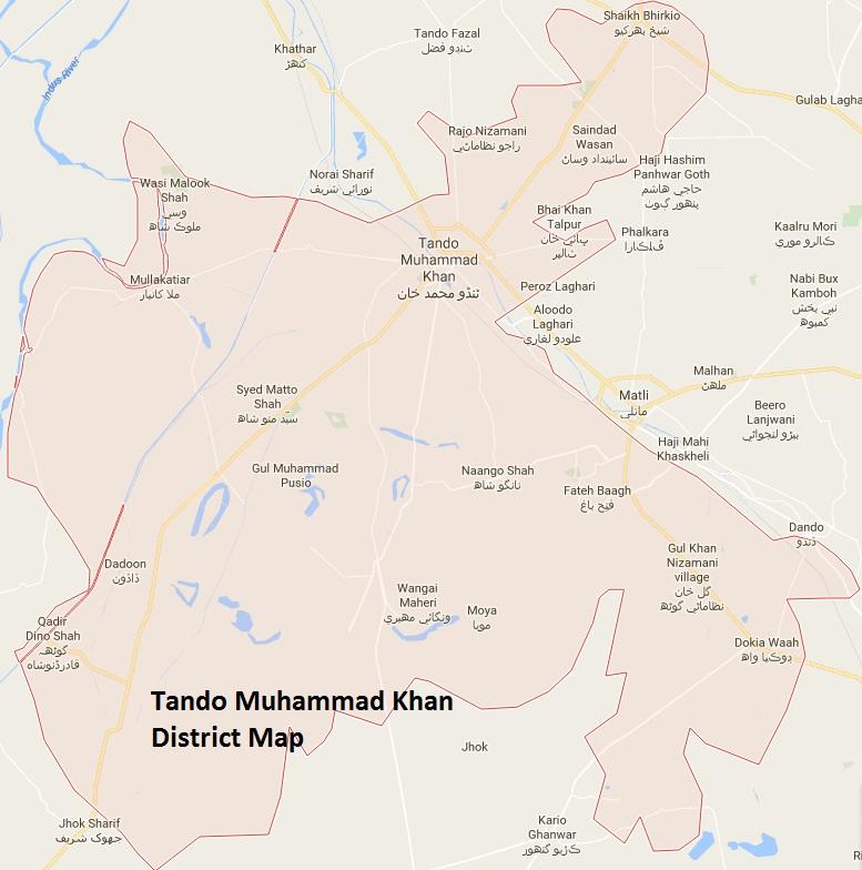 Tando Muhammad Khan District Map