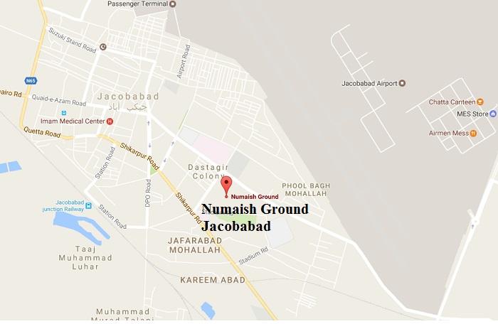 Numaish Ground Jacobabad - Location Map