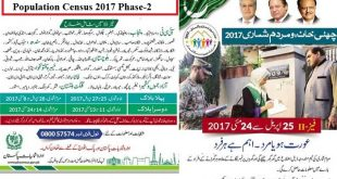 Pakistan Population Census 2017 Phase 2 (25 April to 24 May)