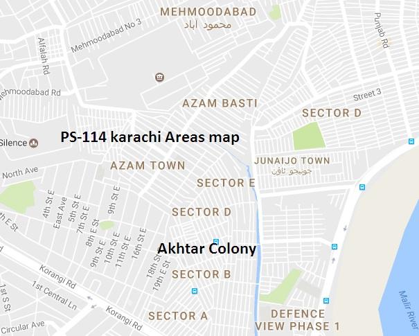 PS-114 Karachi Areas map