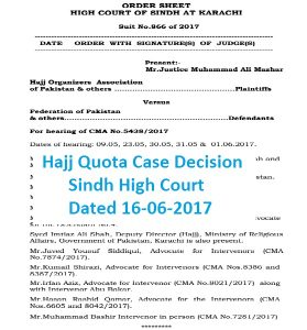 Hajj Quota Case Decision SHC Today 16 June 2017