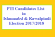 PTI Candidates in Islamabad and Rawalpindi in Election 2017-2018