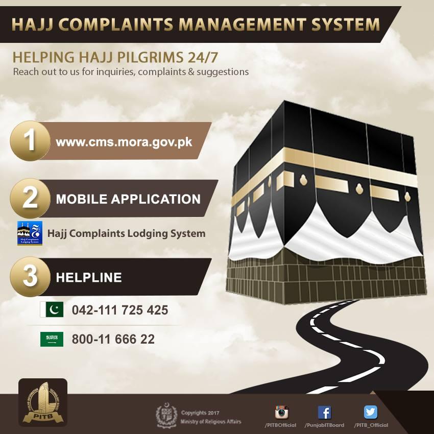Hajj Complaint Lodging System of PITB Pakistan for Hujjaj in Saudi Arabia 2017-1438