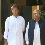 Ch Ghulam Hussain (TV Analyst) with Imran Khan earlier today in Jhelum