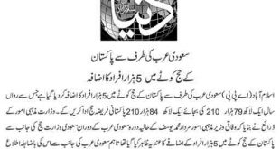 Pakistani Hajj Quota Increased to 184210 for the Year 2018