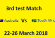 Aus Vs SA Test Match Result Live from Cape Town March 22-26. 2018