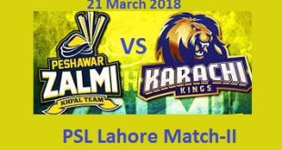 KK Vs PZ PSL Live Lahore Match Today 21-3-2018 PTV, GEO