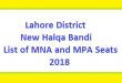 Lahore District New Halqa Bandi - List of MNA and MPA Seats 2018