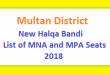 Multan District New Halqa Bandi - List of MNA and MPA Seats 2018