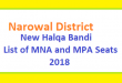 Narowal District New Halqa Bandi - List of MNA and MPA Seats 2018
