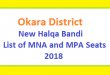 Okara District New Halqa Bandi - List of MNA and MPA Seats 2018