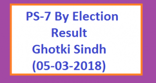 PS-7 By Election Result Ghotki Dhahrki Mirpur Mathelo Sindh Live 2018