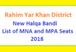 Rahim Yar Khan (RYK) District New Halqa Bandi - List of MNA and MPA Seats 2018