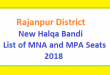Rajanpur District New Halqa Bandi - List of MNA and MPA Seats 2018