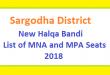 Sargodha District New Halqa Bandi - List of MNA and MPA Seats 2018