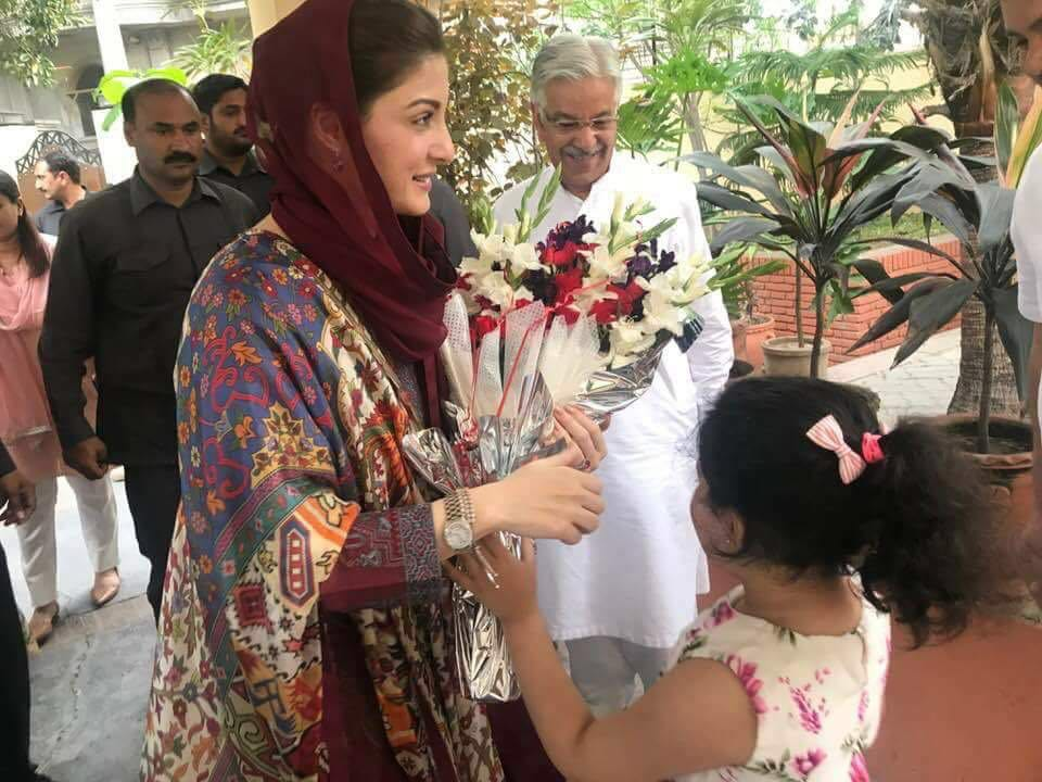 Maryam Nawaz Sharif Reached at Residence of Kh. Muhammad Asif in Sailkot for Workers convention address