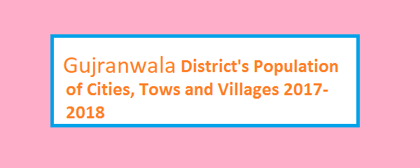 Gujranwala District's Population of Cities, Tows and Villages 2017-2018