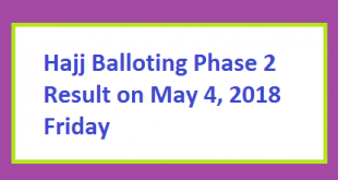 Hajj Balloting Phase 2 Result Online on May 4, 2018 Friday Remaining Govt Hajj Quota