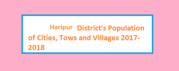 Haripur District's Population of Cities, Tows and Villages 2017-2018