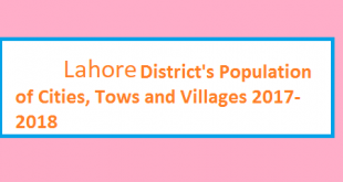 Lahore District's Population of Cities, Tows and Villages 2017-2018