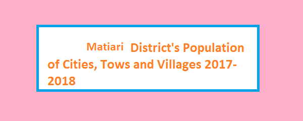 Matiari District's Population of Cities, Tows and Villages 2017-2018