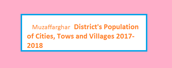 Muzaffarghar District's Population of Cities, Tows and Villages 2017-2018