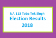 NA 113 Toba Tek Singh Election Result 2018 - PMLN PTI PPP Candidate Votes Live Update