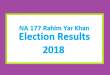 NA 177 Rahim Yar Khan Election Result 2018 - PMLN PTI PPP Candidate Votes Live Update