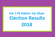 NA 178 Rahim Yar Khan Election Result 2018 - PMLN PTI PPP Candidate Votes Live Update