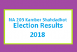 NA 203 Kamber Shahdadkot Election Result 2018 - PMLN PTI PPP Candidate Votes Live Update