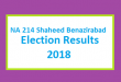 NA 214 Shaheed Benazirabad Election Result 2018 - PMLN PTI PPP Candidate Votes Live Update
